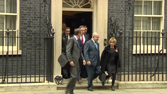 Benjamin Netanyahu departure from Downing Street after meeting Theresa May ENGLAND London Downing Street EXT Benjamin Netanyahu along departing 10...