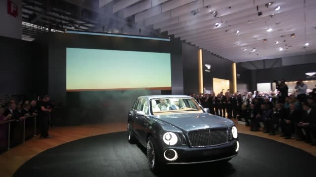 Bentley CEO Wolfgang Durheimer introducing the Bentley SUV / various views and angles of Durheimer talking about SUV / various views and angles of...