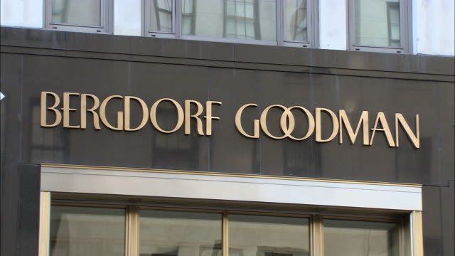 CU, Bergdorf Goodman sign on building exterior, Fifth Avenue, New York City, New York, USA