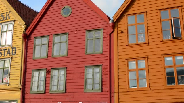 Bergen Norway Bryggen old town with famous wooden leaning houses landmarks for tourists in BRYGGEN area scenic color