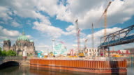 Berlin Construction Site Skyline Timelapse with Berlin Cathedral and TV Tower and Clouds