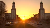 Berlin Frankfurter Tor at sunset