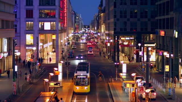 Berlin Friedrichstrasse Night Szene with Traffic and Lights