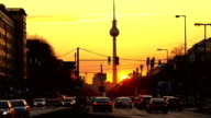 Berlin Skyline at sunset, Time Lapse