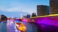 Berlin Skyline Light Night Timelapse with Lightships on Spree River