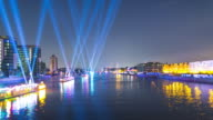 Berlin Skyline Night Timelapse with Lightships on Spree River