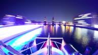 Berlin Skyline Speed Boat Drive over Spree River Hyperlapse