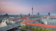 Berlin Skyline Timelapse from Day to Night with Traffic.