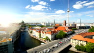 Berlin Skyline with sun, Time Lapse