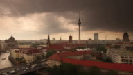 Berlin Storm Skyline with dramatic Clouds Rain and Traffic