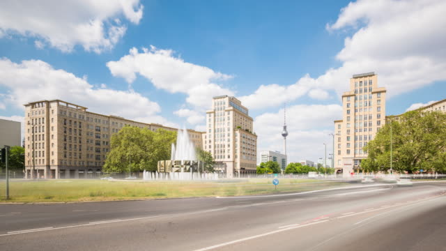 Berlin Strausberger Platz City Skyline in Summer with Traffic and Cloud Dynamic Timelapse Zoom
