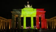 Berlins Brandenburg Gate in Germany shines with the colours of the Belgium flag in solidarity with Brussels after terror attacks on March 22 2016