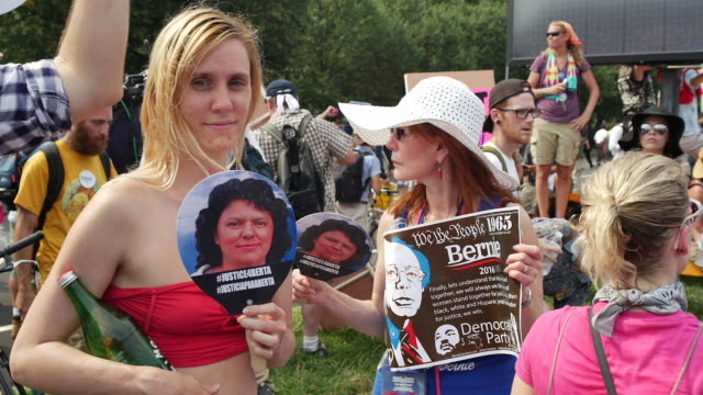 Bernie Sanders supporters protest outside the Wells Fargo Center on the first day of the Democratic National Convention