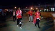 Besiktas fans arrive Ataturk Olympic Stadium prior the UEFA Europe League round of 32 second leg between Besiktas and Liverpool FC on February 26...