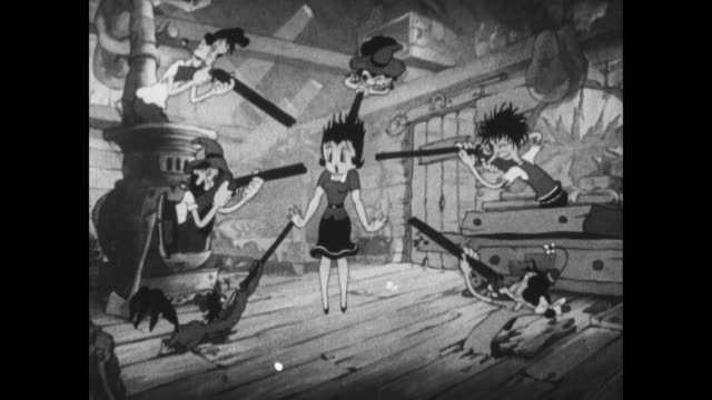 Betty Boop is forced to dance by a backwoods family