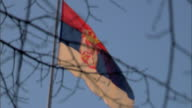 Between thin tree branches FG to LA WS State flag of Serbia flapping in the wind on top of pole BG RACK FOCUS BACK Europe