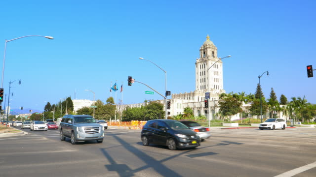 Beverly Hills City Hall Archtectural landmark on Santa Monica Boulevard in Los Angeles, California, 4K