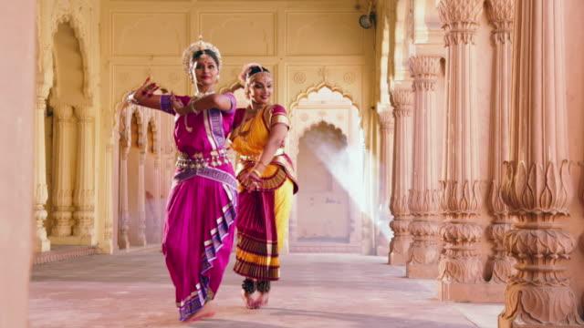 Bharatanatyam and Odissi dancer performing in the palace, Ballabgarh, Haryana, India