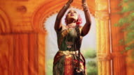 Bharatanatyam dancer performing on the stage, Delhi, India