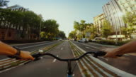 POV bicycle on bicycle lane of Barcelona