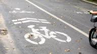 Bicycle road sign on asphalt