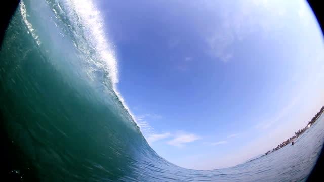 Big 20 foot wave breaks over camera