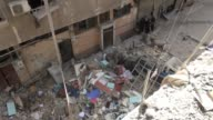A big apartment has been destroyed following missile and howitzer attacks staged by Syrian regime forces at Yarmouk Refugee Camp located 10...