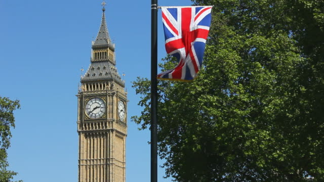 Big Ben and a Union Jack Flag.