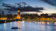 Big Ben and Houses of Parliament, day to night time lapse, London