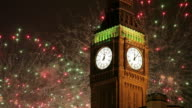 Big Ben Clocktower & New Year Fireworks Display, Westminster, London, England, United Kingdom