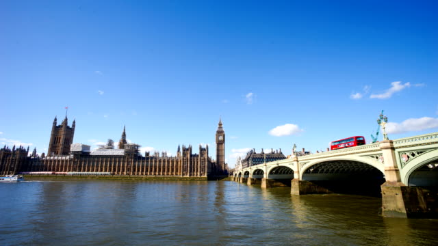 Big Ben, London eye and Westminster abbey in London, UK
