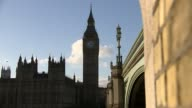 Bells go silent for four years ENGLAND London Westminster EXT R231116008 / **Pound interview overlaid SOT** Palace of Westminster and arches of...