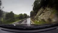 Big car on a wet road onboard camera