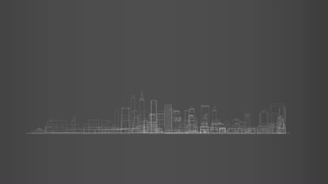 Big city skyline in 360 rotation cycle hologram