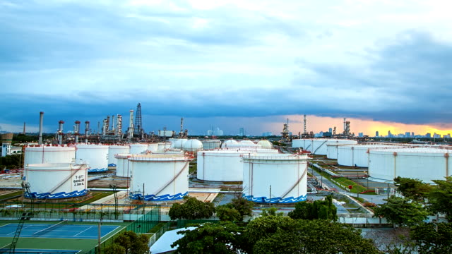 Big Industrial chemical tanks in a refinery