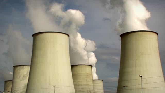 big power plant, air pollution - 2 clips. HD
