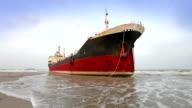 big ship aground on beach