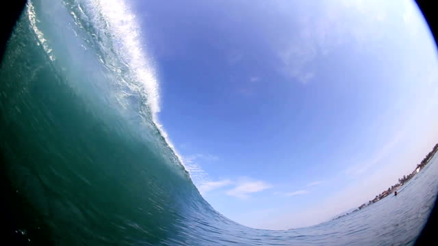 Big wave breaks over the camera in slow motion