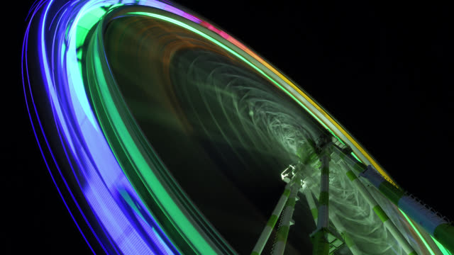 W/S Big wheel in funfair, night, light trails