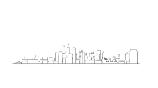 Big white city skyline in 360 rotation cycle lines only
