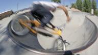 A BMX biker rides at a skate park in Idaho