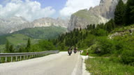Bikers On Sella Ronda In The Dolomites Mountains