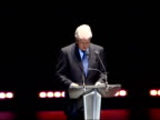 Bill Clinton delivering Royal Albert Hall speech ENGLAND London Royal Albert Hall INT Dougie Donelly introducing former US President Bill Clinton on...
