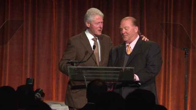 SPEECH Bill Clinton Mario Batali discuss hunger at Food Bank For New York City CanDo Awards Dinner 2017 at Cipriani Wall Street on April 19 2017 in...