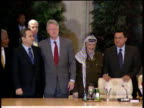 Bill Clinton Yassar Arafat Ehud Barak and Kofi Annan pose for photographs after IsraeliPalestinian ceasefire agreement 17 Oct 00