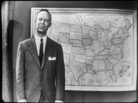 Bill Rogers Promo lead in Bill standing in front of United States map SOT talking about US people linked by loyalty Bill sitting down at desk on set...