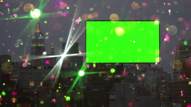 Billboard green Leinwand Chroma key Farbige Schnee Glitzer-New York City