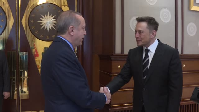 Billionaire entrepreneur and founder of SpaceX Elon Musk meets with Turkish President Recep Tayyip Erdogan at Presidential Complex in Ankara Turkey...