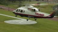 Billionaire Presidential hopeful Donald Trump touches down in Turnberry ahead of the reopening of his 200 million pound Golf Resort NNPW690F