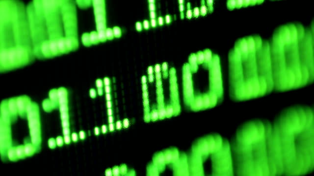 Binary code on computer monitor